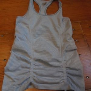 ATHLETA S Gray Micro-Striped Tank Ruched